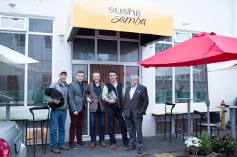 Ben, Jon Thor, Halli, Angus and Orri outside Sushi Samba