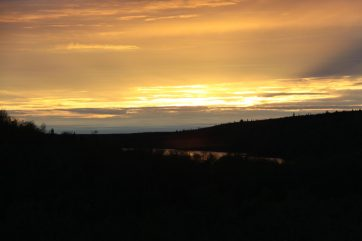 View of the Midnight Sun from Duplex Cabin 4 & 5