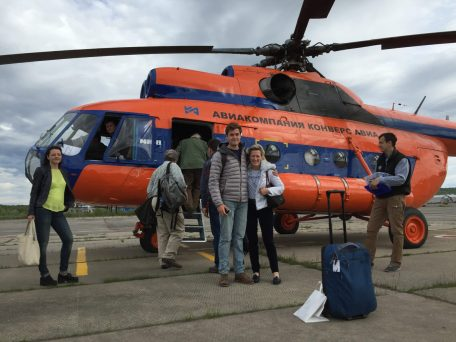 Boarding Mi-8 helicopter in Murmansk for flight to the camp