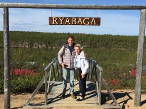 "William and Mollie on arrival at Ryabaga and the ""Stairway to Heaven"""