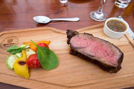 Entrecote dinner entrée artfully presented