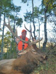 Joe with a nice bull elk, Three Forks Ranch, 2011