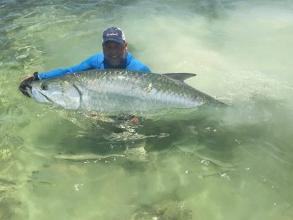 Joe with a trophy tarpon, Bahia Honda Lodge, Florida Keys, 2018