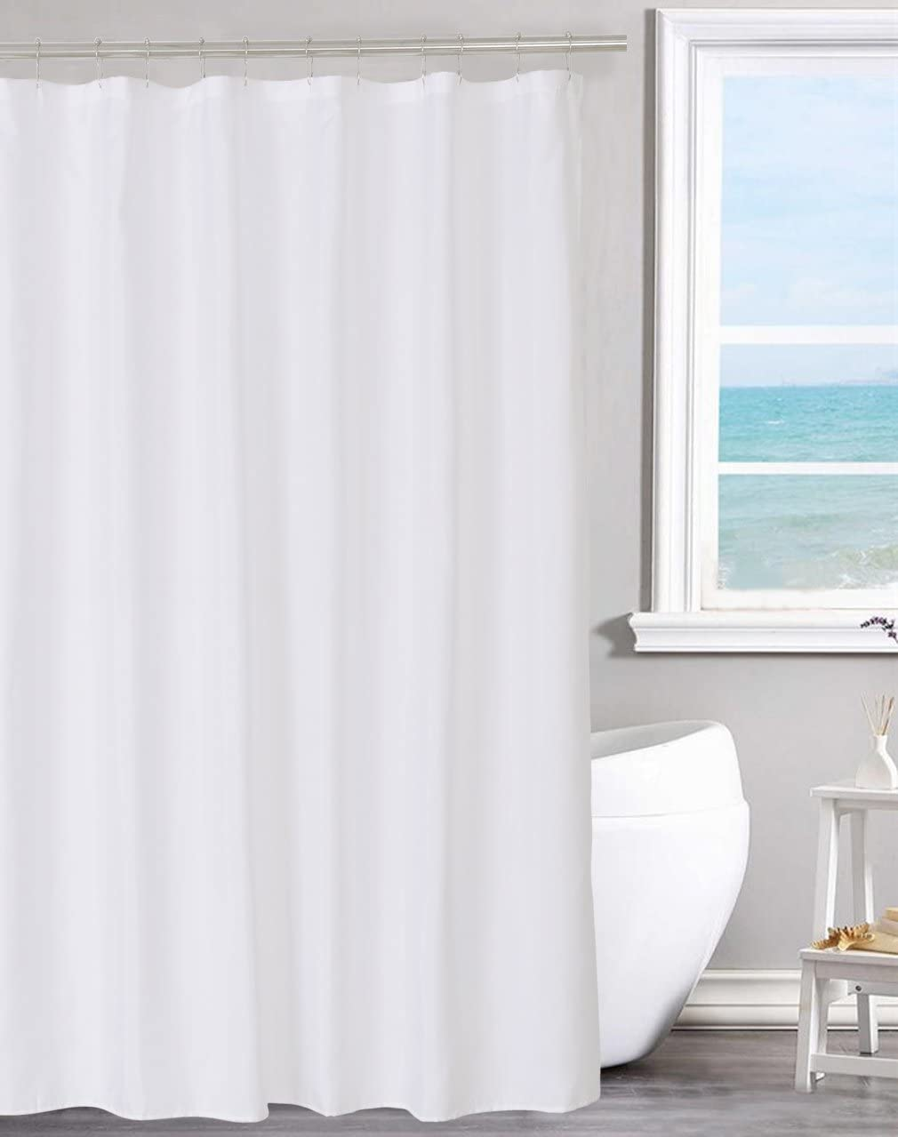 fabric shower curtain liner solid white