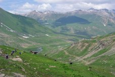 Descending Nichinai Pass on a trek in Kashmir