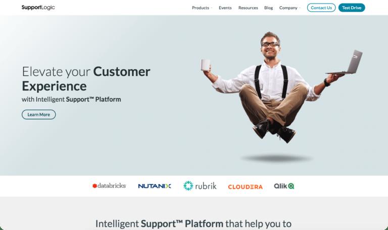 Screenshot of SupportLogic website