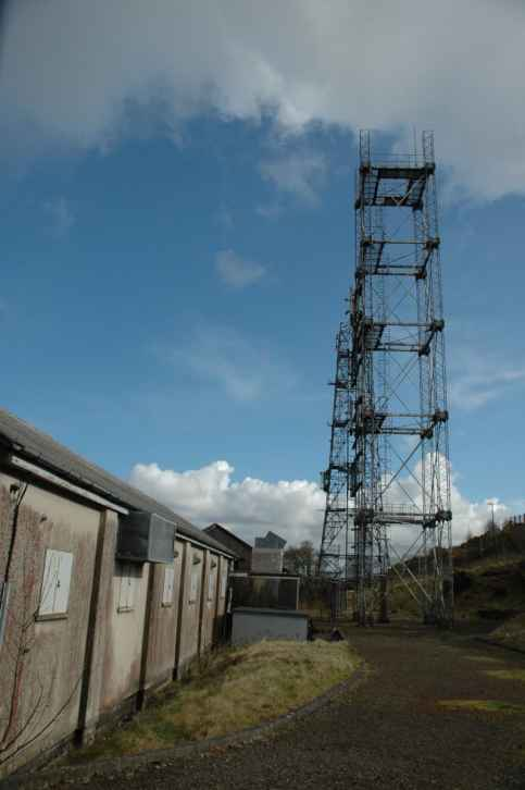 The transmitter towers and instrumentation building.