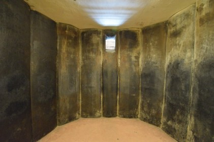 The circular rubber padded cell in the new prison building. In this cell prisoners had no bathroom or sleeping facilities. They were held in total darkness, and without any corners were completely disorientated.