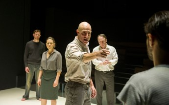 A View from the Bridge performed at Wyndham's Theatre Richard Hansell as Louis, Nicola Walker as Beatrice, Mark Strong as Eddie, Michael Gould as Alfieri, Emun Elliott as Marco ©Alastair Muir 16.02.15
