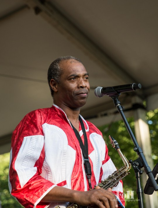 July, 22, 2016 - Oro-Medonte, Ontario, Canada: Nigerian musician Femi Kuti performs with his full band including horns and tribal dancers at Wayhome Music & Arts Festival (Bobby Singh/Polaris).