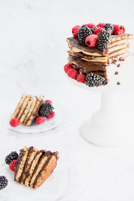 Low sugar gluten free crepe cake
