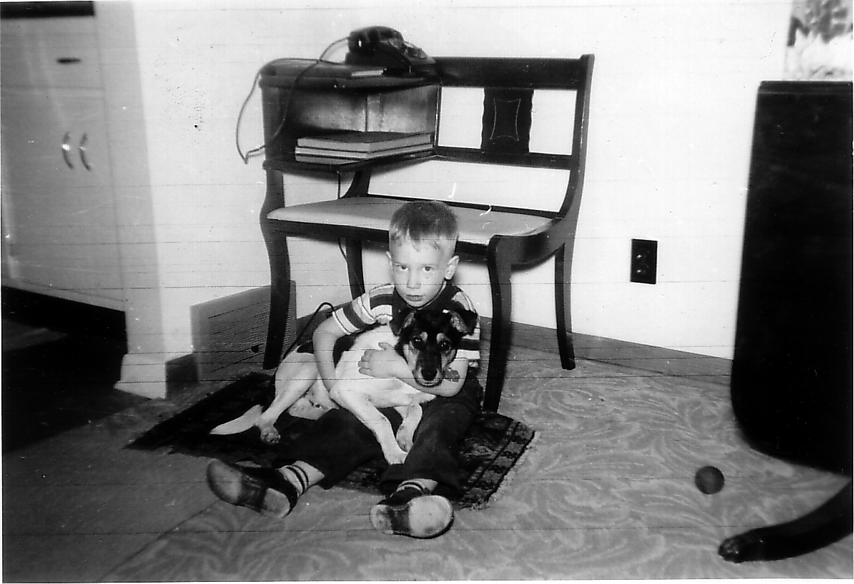 "Buddies Phil and Pat. This photo was taken circa 1953 before Pat ""ran away."""