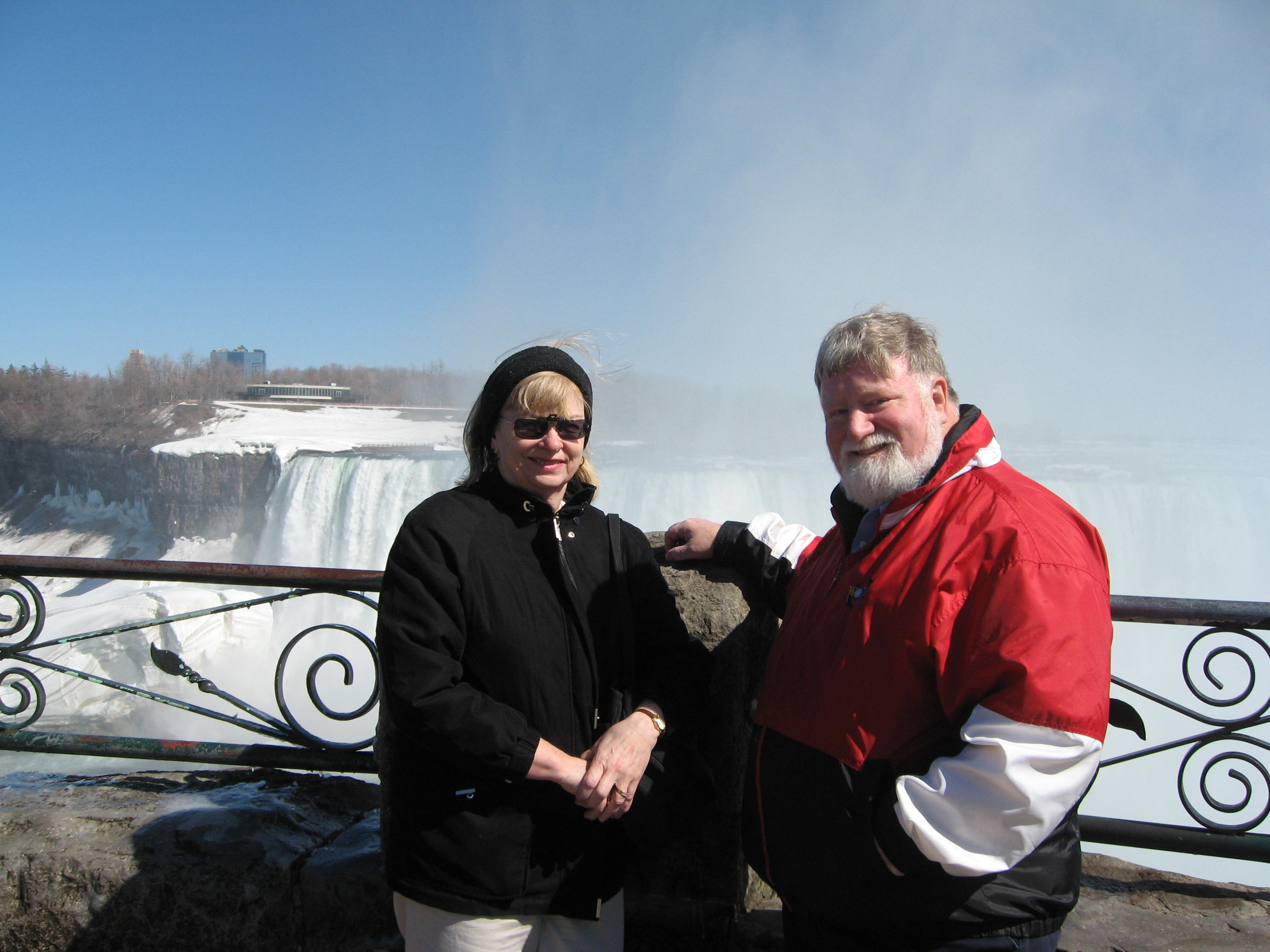 Here we are by the Canadian Falls, also called the Horseshoe Falls. The water creates a mist in the air that, in cold weather, coats nearby trees with ice..