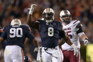 AUBURN, AL - OCTOBER 25: Cassanova McKinzy #8 of the Auburn Tigers reacts to a sack during a game against the South Carolina Gamecocks at Jordan Hare Stadium on October 25, 2014 in Auburn, Alabama. Auburn won the game 42-35. (Photo by Stacy Revere/Getty Images)