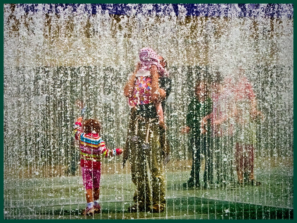 In Winter, you'd never know the fountains are there. In Summer, everyone wants to play in them.