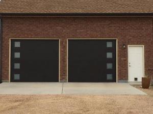 Black Modern Tech Garage Door with side glasses