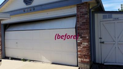 broken Non-Insulated Steel garage door replacement