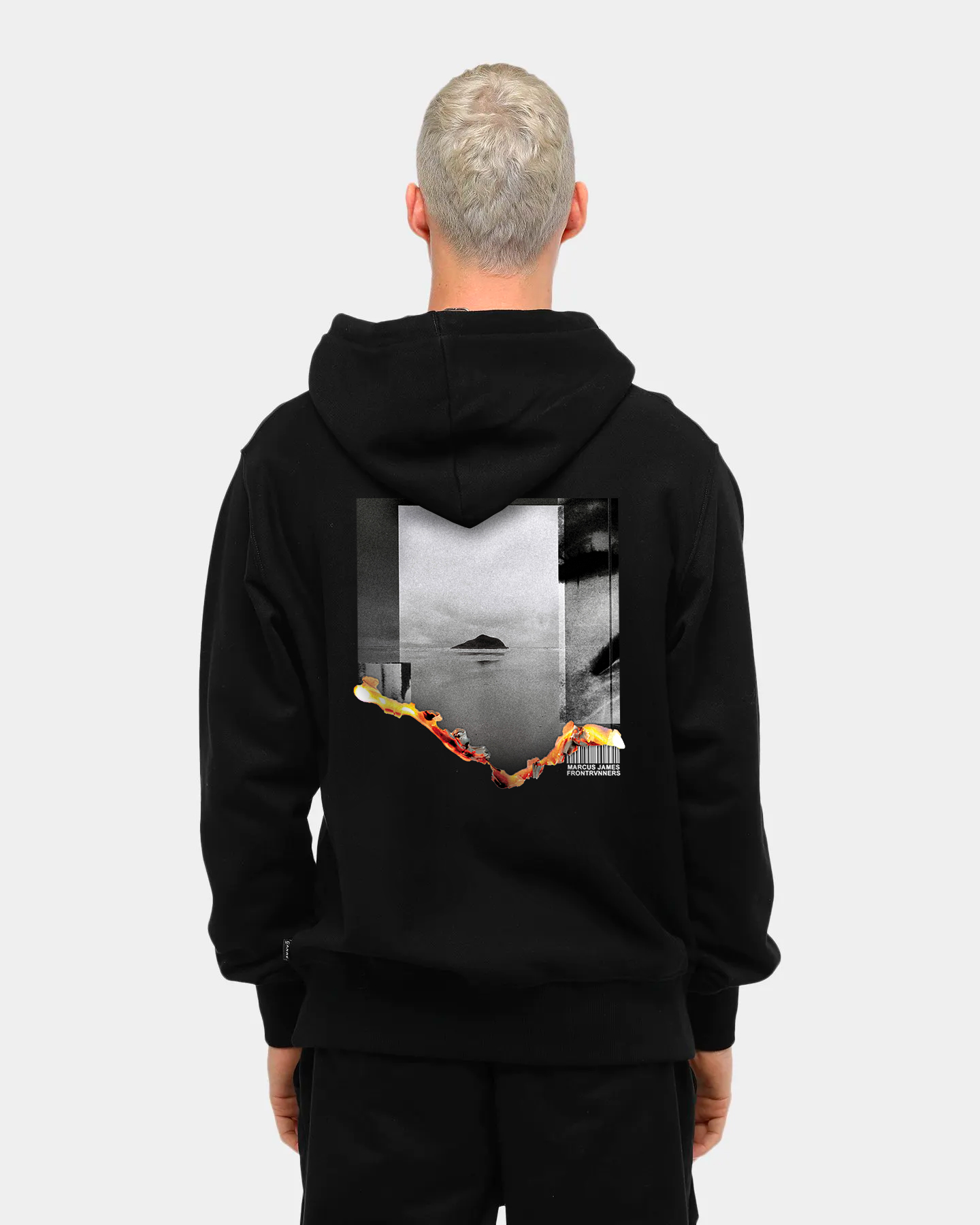 Warning Sign Hoodie Back Male