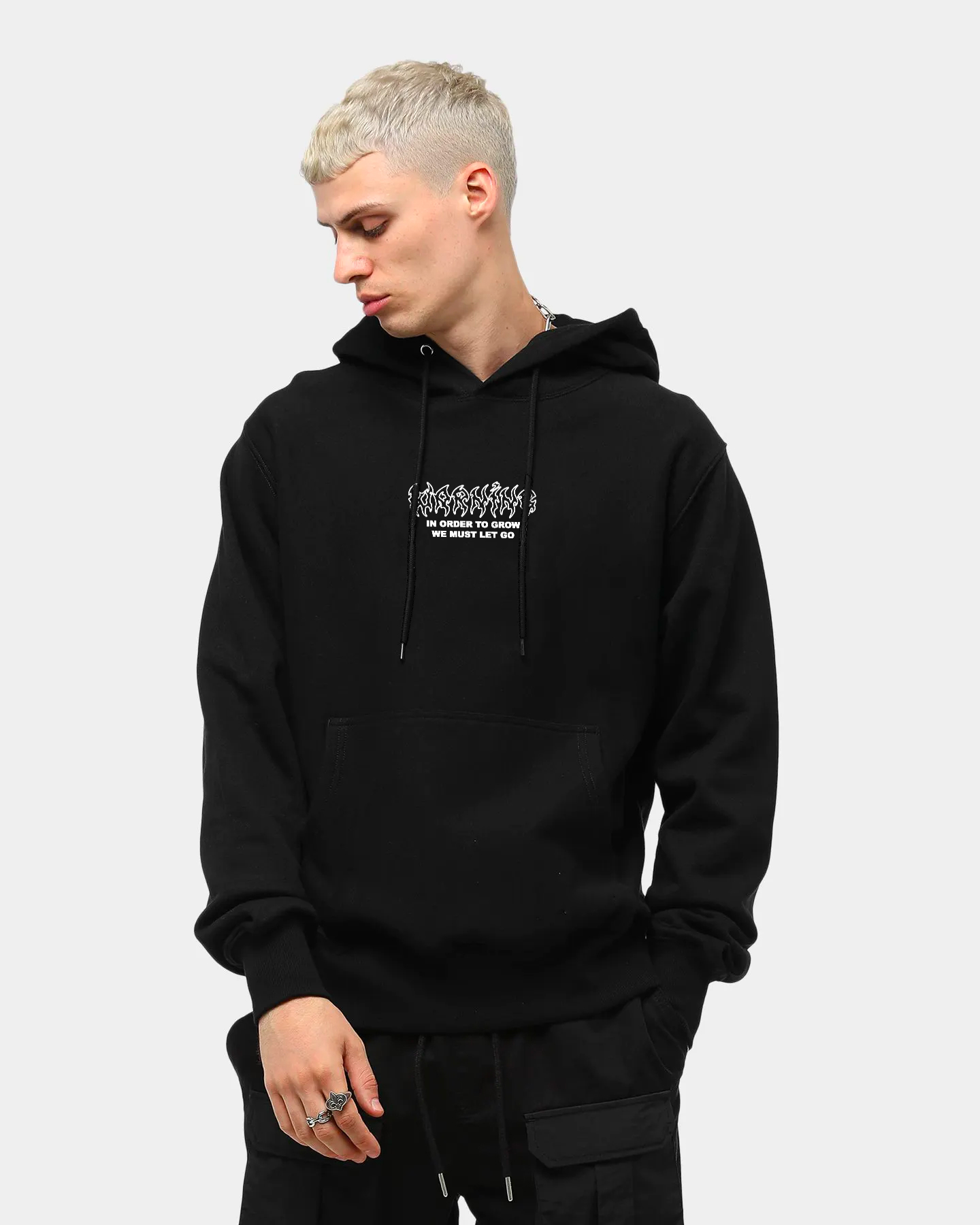 Warning Sign Hoodie Front Male