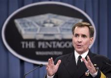 """FILE- In this Nov. 7, 2014, file photo, Department of Defense Press Secretary Rear Admiral John Kirby, speaks during a news conference, at the Pentagon in Washington. State Department spokesman John Kirby said that """"due to privacy considerations"""" he had nothing further to add about the missing Americans. The U.S. Embassy confirmed Sunday, Jan. 17, 2016, that """"several"""" Americans have gone missing in Iraq. (AP Photo/Manuel Balce Ceneta, File)"""