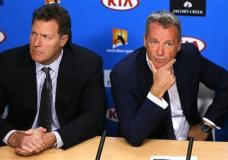 ATP chairman Chris Kermode, right, and vice chairman Mark Young listen to reporter's question during a press conference at the Australian Open tennis championships in Melbourne, Australia, Monday, Jan. 18, 2016. Chairman Kermode and the Tennis Integrity United have rejected news reports that match-fixing has gone unchecked in the sport. In reports published on the morning the Australian Open began, the BBC and BuzzFeed News said secret files exposed evidence of widespread suspected match-fixing at the top level of world tennis. (AP Photo/Shuji Kajiyama)