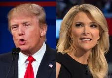 """FILE - This file photo combination made from Aug. 6, 2015, photos shows Republican presidential candidate Donald Trump, left, and Fox News Channel host and moderator Megyn Kelly during the first Republican presidential debate at the Quicken Loans Arena, in Cleveland. Trump isn't backing down from his threat to boycott Thursday night's GOP debate. Trump, who has called Kelly a """"lightweight"""" and biased, told reporters at an Iowa press conference Wednesday night that he would be holding a fundraising event in Iowa at the same time as the debate to benefit veterans and wounded soldiers instead. (AP Photo/John Minchillo, File)"""