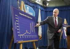 Gov. Jerry Brown gestures to a chart as he discusses his proposed 2016-17 state budget at a news conference Thursday, Jan. 7, 2016, in Sacramento, Calif. Brown proposed a sweeping $122.6 billion budget plan for California on Thursday that includes billions more in spending for education, health care and state infrastructure, increases the state rainy day fund to $8 billion and takes steps to pay down debts. (AP Photo/Rich Pedroncelli)