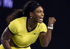 Serena Williams of the United States celebrates after winning a point against Agnieszka Radwanska of Poland during their semifinal match at the Australian Open tennis championships in Melbourne, Australia, Thursday, Jan. 28, 2016.(AP Photo/Andrew Brownbill)