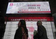 Passersby walk past an electronic board showing Hong Kong share index outside a local bank in Hong Kong, Monday, Jan. 11, 2016. China's stock benchmark plunged more than 5 percent and other Asian markets fell Monday as Wall Street's decline and doubts about Beijing's economic management kept appetite for riskier assets such as stocks in check. (AP Photo/Vincent Yu)