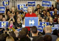 Democratic U.S. presidential candidate Hillary Clinton speaks during a Get Out the Caucus event at the Valley Southwoods Freshman High School in West Des Moines, Iowa, January 24, 2016. REUTERS/Scott Morgan . SAP is the sponsor of this coverage which is independently produced by the staff of Reuters News Agency.