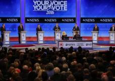 Republican presidential candidates, Ohio Gov. John Kasich, former Florida Gov. Jeb Bush, Sen. Marco Rubio, R-Fla., businessman Donald Trump, Sen. Ted Cruz, R-Texas, retired neurosurgeon Ben Carson and New Jersey Gov. Chris Christie (L-R) line up on the stage at the beginning of a Republican presidential primary debate hosted by ABC News at the St. Anselm College Saturday, Feb. 6, 2016, in Manchester, N.H. (AP Photo/David Goldman)