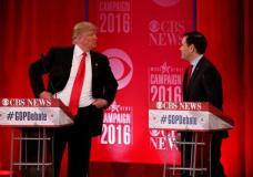 Republican U.S. presidential candidate Donald Trump (L) speaks with Senator Marco Rubio during a commercial break at the Republican U.S. presidential candidates debate sponsored by CBS News and the Republican National Committee in Greenville, South Carolina February 13, 2016. REUTERS/Jonathan Ernst  . SAP is the sponsor of this content. It was independently created by Reuters' editorial staff and funded in part by SAP, which otherwise has no role in this coverage.