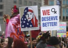 Thousands of people gather as they prepare to march in protest of President Donald Trump Saturday Jan. 21, 2017 in Philadelphia. The march is being held in solidarity with similar events taking place in Washington and around the nation.(AP Photo/Jacqueline Larma)