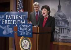 Sen. Bill Cassidy, R-La. listens at left as Sen. Susan Collins, R-Maine speaks during a news conference on Capitol Hill in Washington, Monday, Jan. 23, 2017, to announce the Patient Freedom Act of 2017, a possible GOP replacement bill for the Affordable Care Act. (AP Photo/J. Scott Applewhite)