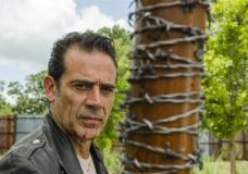 """This image released by AMC shows Jeffrey Dean Morgan as Negan from the series, """"The Walking Dead."""" The popular zombie series makes its midseason return Sunday on AMC. (Gene Page/AMC via AP)"""