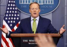 White House press secretary Sean Spicer speaks during the daily press briefing, Thursday, Feb. 2, 2017, in the briefing room of the White House in Washington. (AP Photo/Evan Vucci)