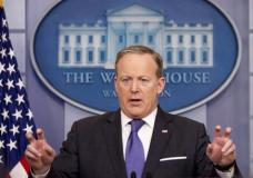 White House press secretary Sean Spicer speaks during the daily press briefing at the White House in Washington, Monday, March 13, 2017. Spicer discussed surveillance during the 2016 presidential campaign, North Korea, anti-Semitic attacks and other topics. (AP Photo/Andrew Harnik)