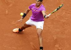 Rafael Nadal of Spain prepares to return a shot to Rogerio Dutra Silva of Brazil during the Barcelona Open Tennis Tournament in Barcelona, Spain, Wednesday, April 26, 2017. (AP Photo/Manu Fernandez)