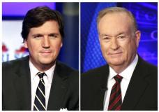 "FILE - In this combination photo, Tucker Carlson, host of ""Tucker Carlson Tonight,"" appears on the set in New York, Thursday, March 2, 2107, left, and Fox News personality Bill O'Reilly appears on the set of his show, ""The O'Reilly Factor"" on Oct. 1, 2015 in New York. O'Reilly says he's sad and surprised that he's off TV but is confident the truth will come out about his exit from Fox News. Five days after his firing amid sexual harassment allegations, O'Reilly aired an episode Monday of his personal website's ""No Spin News"" podcast. The show was replaced by ""Tucker Carlson's Tonight,"" which moved to O'Reilly's time slot Monday. (AP Photo/Richard Drew, File)"