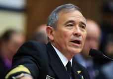 n this photo taken April 26, 2017, U.S. Pacific Command Commander Adm. Harry Harris Jr. testifies on Capitol in Washington before a House Armed Services Committee hearing on North Korea. Harris said Thursday, April 27, 2017, that the crisis with North Korea is at the worst point he's ever seen, but he declined to compare the situation to the Cuban missile crisis decades ago. (AP Photo/Manuel Balce Ceneta)