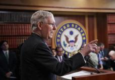 Senate Majority Leader Mitch McConnell of Ky., talks to reporters before the vote to confirm President Donald Trump's Supreme Court nominee Neil Gorsuch, on Capitol Hill in Washington, Friday, April 7, 2017. Gorsuch is headed for confirmation on Friday after Republicans tore up the Senate's voting rules to allow him to ascend to the high court over furious Democratic objections. (AP Photo/J. Scott Applewhite)
