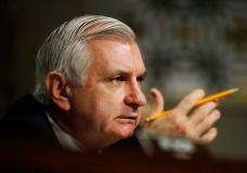 FILE - In this April 27, 2017 file photo, Sen. Jack Reed, D-R.I., ranking member on the Senate Armed Services Committee speaks on Capitol Hill in Washington. Senate Democrats don't want to let President Donald Trump forget the day he met with top Russian diplomats at the White House, even as he tries to move past allegations of possible collusion between Moscow and his presidential campaign. (AP Photo/Manuel Balce Ceneta, File)