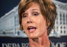 FILE - In this June 28, 2016, file photo, then-Deputy Attorney General Sally Yates speaks at the Justice Department in Washington. Yates is expected to testify to Congress on May 8, 2017, that she expressed alarm to the White House about President Donald Trump's national security adviser's contacts with the Russian ambassador, which could contradict how the administration has characterized her counsel. Yates is expected to recount in detail her Jan. 26 conversation about Michael Flynn and that she saw discrepancies between the administration's public statements on his contacts with ambassador Sergey Kislyak and what really transpired, according to a person familiar with that discussion and knowledgeable about Yates's plans for her testimony. (AP Photo/J. David Ake, File)