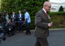 National Security Adviser H.R. McMaster walks back to the West Wing of the White House in Washington, Monday, May 15, 2017, after speaking to the media. (AP Photo/Susan Walsh)