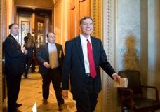 Sen. John Barrasso, R-Wyo., chairman of the Senate Environment and Public Works Committee, leaves the chamber following a surprising win for environmentalists and Democrats and a blow to the fossil-fuel industry, as the Republican-led Senate failed in a bid to reverse an Obama-era regulation restricting harmful methane emissions that escape from oil and gas wells on federal land, at the Capitol in Washington, Wednesday, May 10, 2017. (AP Photo/J. Scott Applewhite)