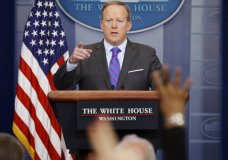 White House press secretary Sean Spicer speaks during the daily press briefing, Monday, May 8, 2017, at the White House in Washington. (AP Ph
