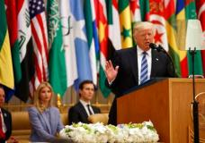 President Donald Trump delivers a speech to the Arab Islamic American Summit, at the King Abdulaziz Conference Center, Sunday, May 21, 2017, in Riyadh, Saudi Arabia. From left, White House Chief of Staff Reince Priebus, Ivanka Trump, White House senior adviser Jared Kushner. (AP Photo/Evan Vucci)