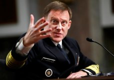 U.S. Cyber Command and the National Security Agency Director Adm. Mike Rogers testifies on Capitol Hill in Washington, Tuesday, May 9, 2017, before the Senate Armed Services Committee. Rogers said the U.S. watched Russians penetrate France's infrastructure and tipped French officials before the hacking became public during the country's recent election. (AP Photo/Jacquelyn Martin)