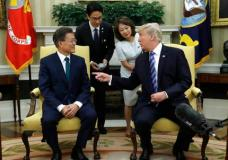 President Donald Trump meets with South Korean President Moon Jae-in in the Oval Office of  the White House in Washington, Friday, June 30, 2017. (AP Photo/Evan Vucci)