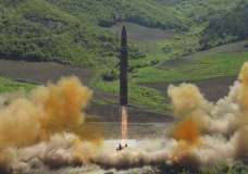This July 4, 2017, file photo distributed by the North Korean government shows the launch of a Hwasong-14 intercontinental ballistic missile (ICBM) in North Korea. North Korea's nuclear and missile development ...